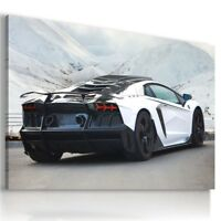 LAMBORGHINI AVENTADOR WHITE WINTER MOUNTAINS Car Wall Art Canvas AU778  MATAGA