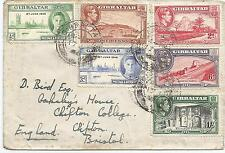 GIBRALTAR ENVELOPE SENT TO BRISTOL FRANKED BY 6 GVI STAMPS INC VICTORY PAIR