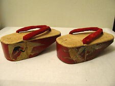 Vintage Antique Japanese Maiko Geta Tatami Wood Sandals Red Lacquer Crane Bell