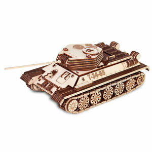 Eco Wood Art - Tank T-34/85 Mechanical Wooden Model Kit No Glue Required Ugears