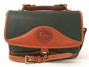 Vintage Dooney & Bourke Hunter Green Pebble Leather Crossbody Bag Purse