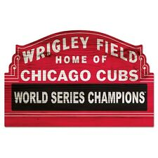 """CHICAGO CUBS WORLD SERIES CHAMPS WRIGLEY FIELD WOOD SIGN 11""""x17"""" NEW WINCRAFT"""