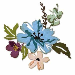 New! Sizzix Tim Holtz Thinlits 8PK - Brushstroke Flowers #2 665210