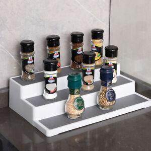 3 Tier Step Jar Tin Spice Storage Rack Cupboard Kitchen Shelves Stand Organiser