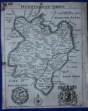 Raro Original Antiguo mapa Huntingdonshire, San Neots, Yaxley, Samuel Simpson 1746