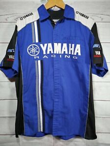 Yamaha Racing Pit Shirt Blue Mens Large Embroidered Double Sided 521i