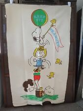 "Vintage 1965 Peanuts Blanket Bedspread ""Keep Fit"""