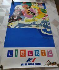 AFFICHE AIR FRANCE ROGER BEZOMBES LIBERTE MOURLOT 1981
