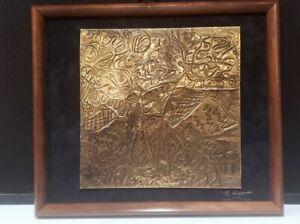 Vintage Copper Art by Maury Davis Handmade Hammered Abstract Modern MCM Framed