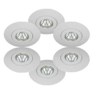 6 Downlight Spotlight Hole Converter/Conversion Kits GU10 & MR16 White Finish