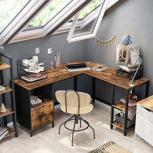 L-förmiger Computertisch Schreibtisch Bürotisch mit Schrank 2 Ablagen LWD75X