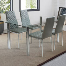 Tempered Glass Clear Desktop Dining Table and 4 Chairs Upholstered Kitchen Seat
