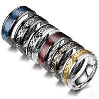 Fashion Mens Punk Jewelry Stainless Steel Dragon Pattern Glow Men Ring Size 6-13