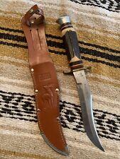 Vintage Edge Brand #442 Stag Siberian Hunter Bowie Solingen Germany Knife W/Case