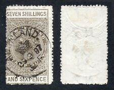 NEW ZEALAND 1888 POSTAL FISCAL 7s.6d. PERF 12½. SG F41 FINE USED Cat.£250 (2014)