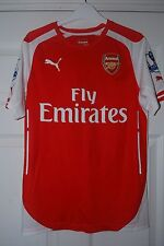 RARE ARSENAL PLAYER ISSUE 14/15 HOME SHIRT NON ACTV SMALL GIBBS EPL BADGES L@@K