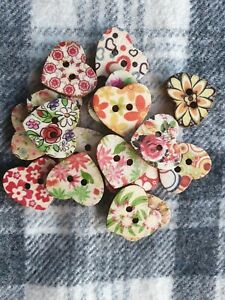 10 large mixed hearts wooden  kids sewing craft scrapbooking buttons 25mm 2 hole