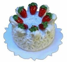 Dollhouse Miniature - Tres Leches Cream Cake with Strawberries - 1:12 Scale