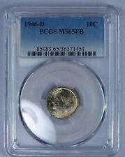 1946-D Roosevelt Dime. PCGS MS65FB.Toned.  ET198C/BR