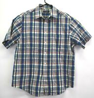 Roundtree & Yorke Men's Large 100% Cotton Short Sleeve Plaid Button Up Shirt