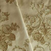Tan/Pearl Beige Victorian Floral Jacquard Decorating Fabric, Fabric By The Yard