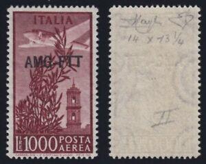 "1952 Trieste A - PA ""Campidoglio"" L.1000 d.14 x 13 1/4 nuovo MNH** g.i. firmato"