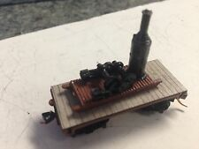 ULRICH N SCALE OLD TIME STEAM DONKEY ENGINE SKID AND FLAT CAR LOGGING