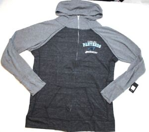 NFL Carolina Panthers Womens Curvy Triblend Color Block Full Zip Hoodie Black 1X