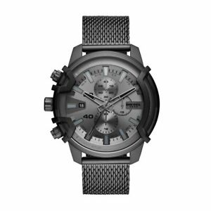 Mens Wristwatch DIESEL GRIFFED DZ4536 Chrono Stainless Steel Black Mesh NEW