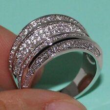 Size 6-11 Handmade 14K White Gold Filled Topaz Pave Set Wedding Eternity Ring