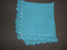 TURQUOISE  CROCHET 40 INCHES PHOTO PROP BABY, REBORN NEW BABY BLANKET, SHAWL