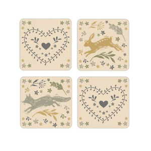 Pack of 4 Coasters Woodland Design by Cooksmart