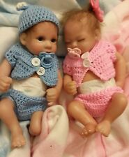 TWINS   BOY AND  GIRL TINY WITH MOHAIR AND PACIFIERS  11 INCH PREEMIE