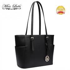 Black Women Designer PU Leather Handbag Shoulder Tote Bag Adjustable Handle