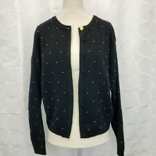 a2a52ba7aaf Vintage Talbots Womens Merino Wool Cardigan Sweater Size Medium Black Gold  Beads