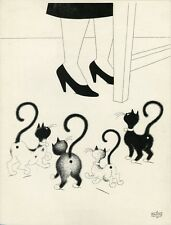 """CHAT POINT D'INTERROGATION par DUBOUT"" Planche litho entoilée 1962  34x44cm"