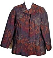Coldwater Creek size 1X lined jacket womens brown gold floral long sleeve blazer