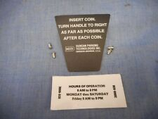 Instruction Plate Duncan Parking Meter Model 60 New Original Replacement