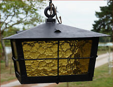 French Arts & Crafts Lantern Wrought Iron Bubble Glass Amber 1910
