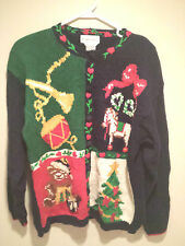 Vintage Tacky Ugly Christmas Sweater  - Large Navy Blue Knitted Party Winner !!
