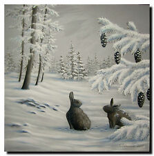 Acrylmalerei Christiane Schwarz; WINTERLANDSCHAFT MIT HASEN ca. 60x60cm, Kunst