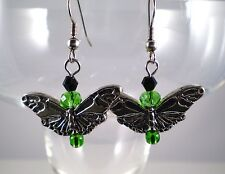 """Earrings Glass Green/Butterfly Silver Plated Dangle 1.5"""" Handmade GB USA New"""