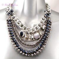 Boho Multi Strand Silver Mirror Czech Glass Charms Necklace W Swarovski Crystals