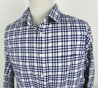 Billy Reid XXL Slim Cut Shirt Button Front Plaid White Blue LS Cotton Made Italy