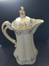 Nippon Handpainted Chocolate Pot - Green M Wreath Pre-1921 - Previously loved
