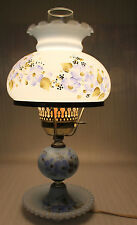 Cute Vintage Blue Floral Gone With The Wind Hurricane Glass Table Lamp Works!
