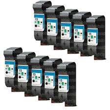 10Pk HP C6615DN Ink Cartridge Reman for HP 15 Ink Cartridge PSC 750