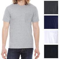 American Apparel Pocket T-Shirt Preshrunk Soft Ring Spun Cotton Tee S, M, L, XL