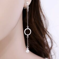"#E122T Women 3.4"" Long CLIP ON EARRINGS Dangle Hoop Thin Tassel Crystal Sexy New"
