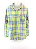 HOLLISTER Womens Shirt M Medium Green Blue Pink Check Cotton